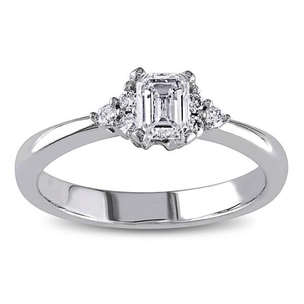 Miadora Signature Collection 14k White Gold 1/2ct TDW Emerald Cut Diamond Engagement Ring (G-H, I1-I2)