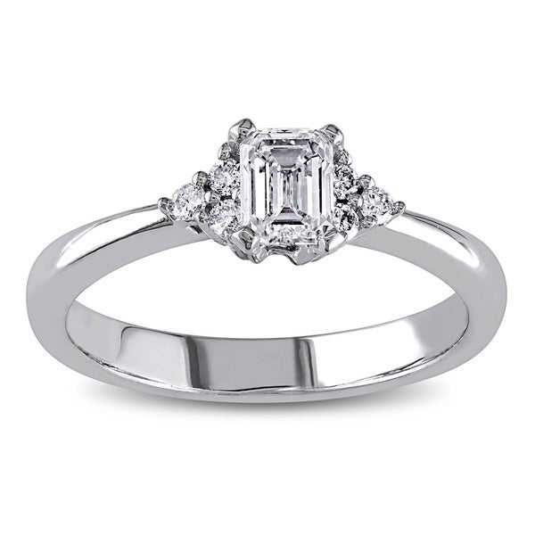 Miadora Signature Collection 14k White Gold 1/2ct TDW Emerald Cut Diamond Engagement Ring