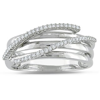 Miadora 10k White Gold 1/6ct Prong-set TDW Diamond Ring