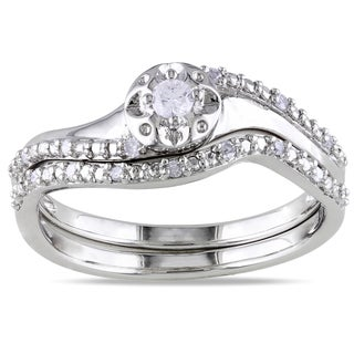 Miadora Sterling Silver 1/6ct TDW Diamond 2-Piece Ring Set