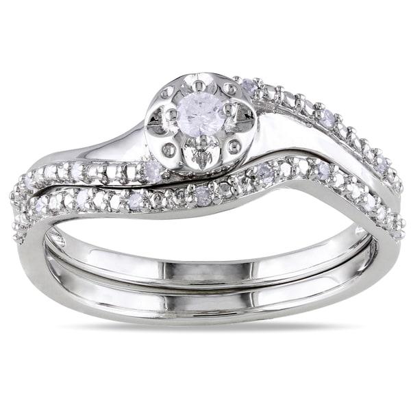 Miadora Sterling Silver 1/6ct TDW Diamond 2-Piece Ring Set