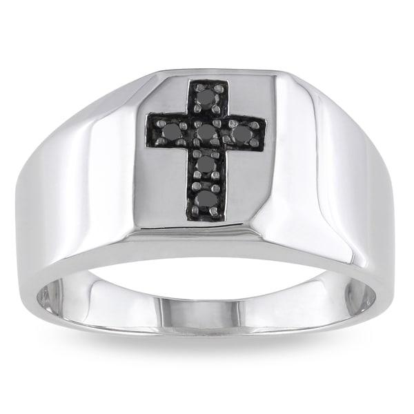 Miadora Sterling Silver 1/10ct TDW Men's Black Diamond Cross Ring