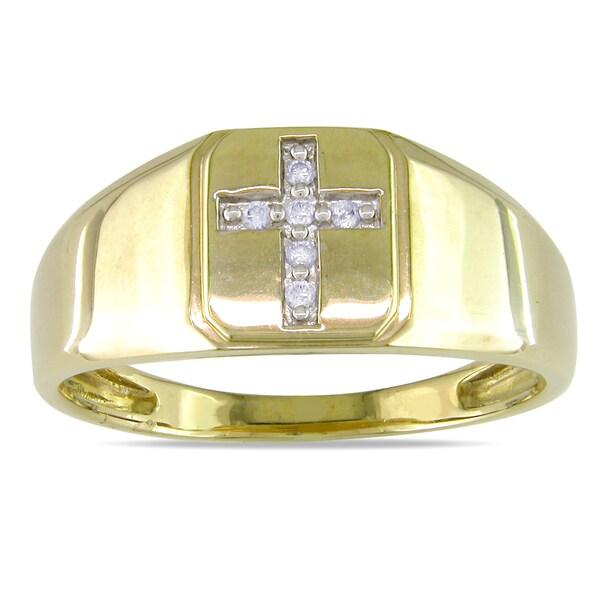 Miadora 10k Yellow Gold Men's Diamond Ring (H-I, I2-I3)