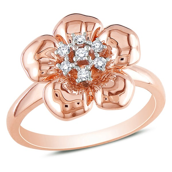 Miadora 14k Rose Gold 1/10ct TDW Diamond Flower Ring