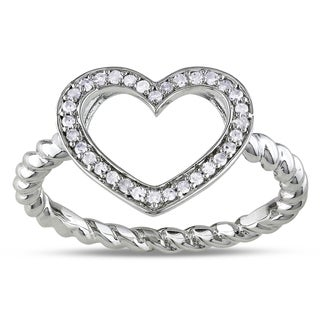 Miadora Sterling Silver 1/8ct TDW Diamond Heart Ring (G-H, I1-I2)