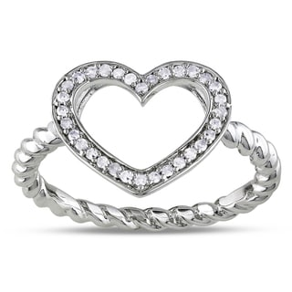 Miadora Sterling Silver 1/8ct TDW Diamond Heart Ring