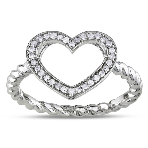Miadora Sterling Silver 1/8ct TDW Diamond Heart Ring