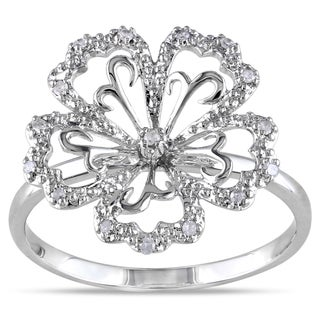 Miadora 14k White Gold 1/10ct TDW Diamond Flower Ring
