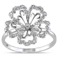 Miadora 14k White Gold 1/10ct TDW Diamond Flower Ring