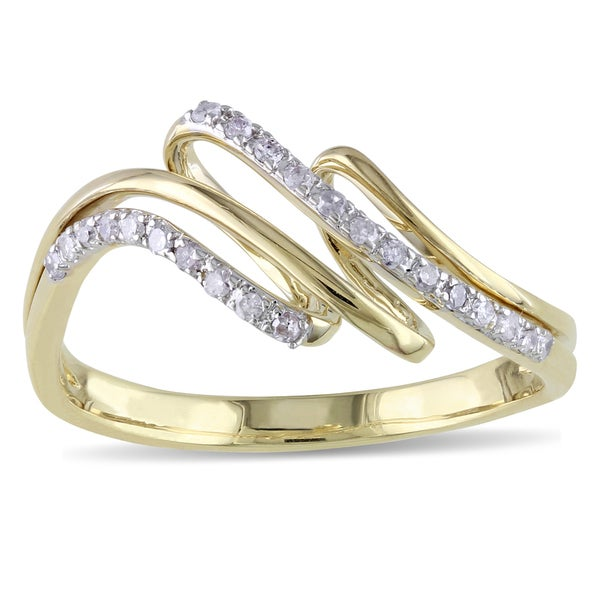 Miadora 14k Yellow Gold 1/6ct TDW Diamond Ring