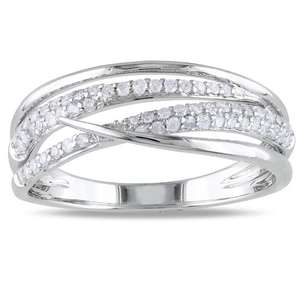Miadora 14k White Gold 1/3ct TDW Diamond Ring