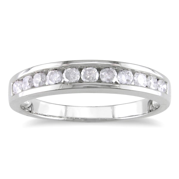 Miadora Sterling Silver 1/2ct TDW Channel Diamond Wedding Band