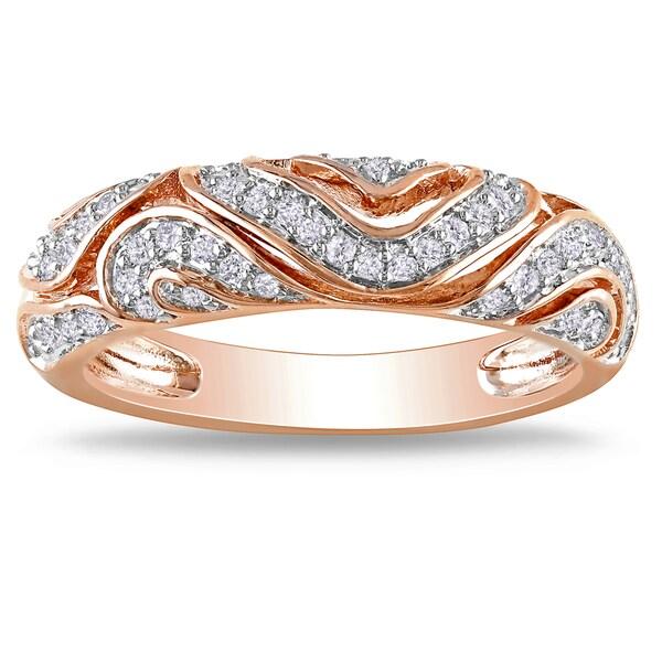 Miadora  Rose-plated Silver 1/5ct TDW Diamond Ring (H-I, I2-I3)