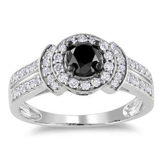 Miadora 14k White Gold 1ct TDW Black and White Diamond Halo Ring