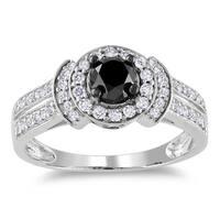 Miadora 14k White Gold 1ct TDW Black and White Diamond Halo Ring