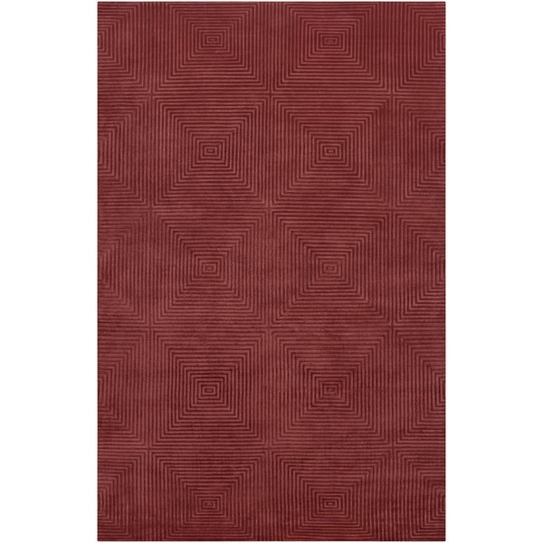 Hand-knotted Hemet Red Geometric Wool Rug (2' x 3')