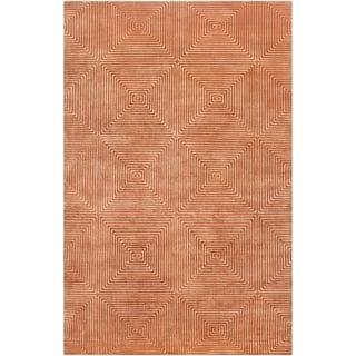 Hand-knotted Hemphill Orange Geometric Wool Rug (2' x 3')