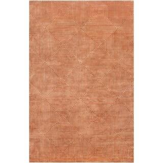 Hand-knotted Hemphill Orange Geometric Wool Area Rug - 2' X 3'