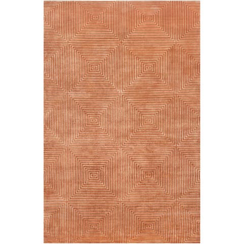 Hand-knotted Hemphill Orange Geometric Wool Area Rug - 2' x 3'