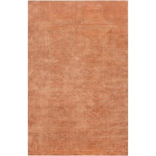 Link to Hand-knotted Hemphill Orange Geometric Wool Area Rug - 2' x 3' Similar Items in Casual Rugs
