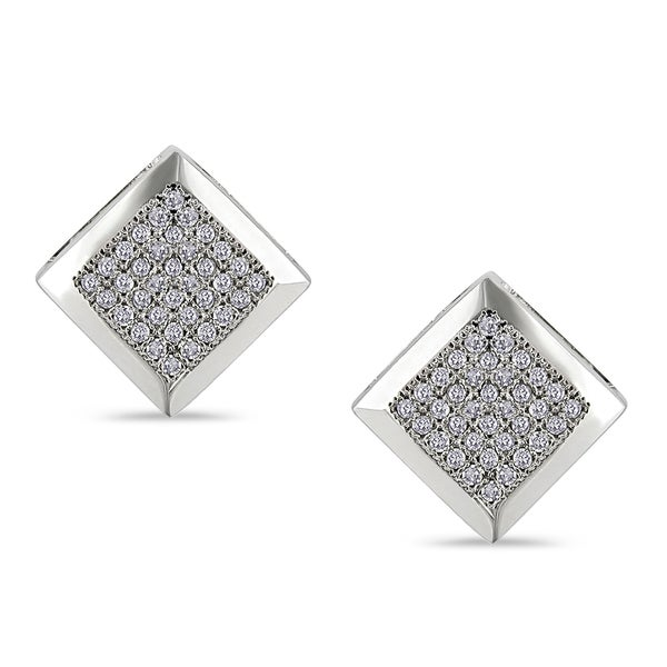 Miadora 10k White Gold 1/5ct TDW Diamond Earrings