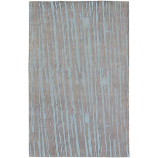 Hand-knotted Henry Grey Abstract Plush Wool Rug (2' x 3')