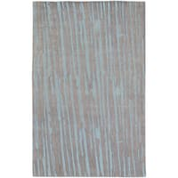 Hand-knotted Henry Grey Abstract Plush Wool Area Rug - 2' x 3'