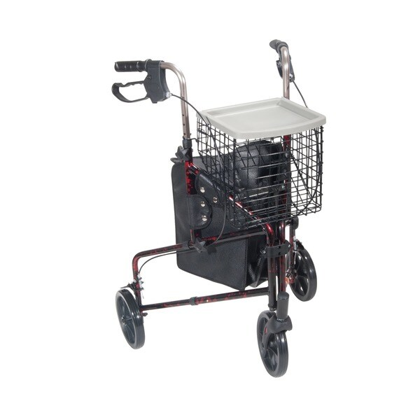 Drive Medical 3 Wheel Rollator Rolling Walker with Basket Tray and Pouch, Flame Red - Flame Red