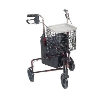 Drive Medical 3-wheel Flame Red Walker Rollator with Basket Tray and Pouch