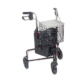 Drive Medical 3-wheel Flame Red Walker Rollator with Basket Tray and Pouch|https://ak1.ostkcdn.com/images/products/7277500/P14753502.jpg?impolicy=medium