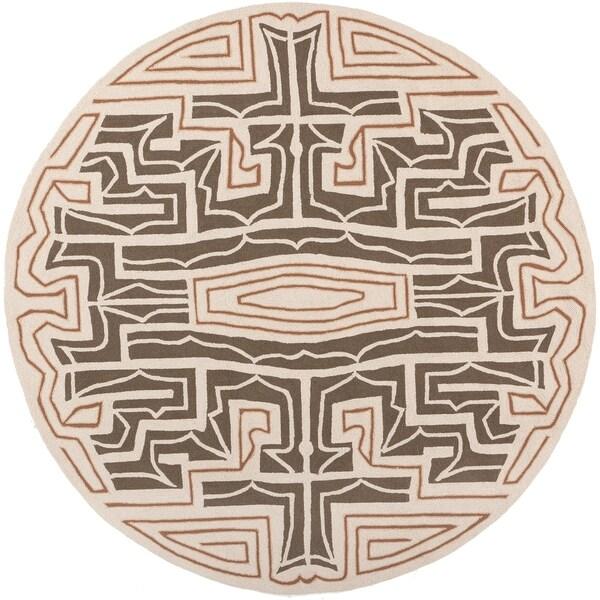 Hand-hooked Hines Brown Indoor/Outdoor Geometric Rug (8' x 8')