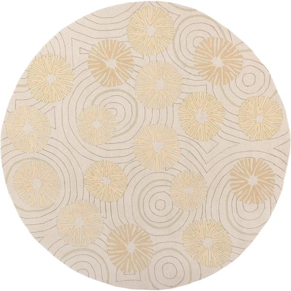Hand-hooked Holiday Beige Indoor/Outdoor Floral Rug (8' x 8')