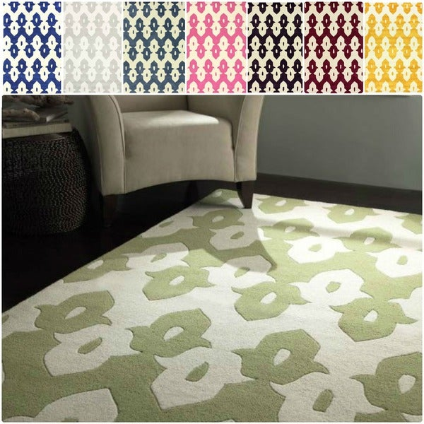 nuLOOM Abstract Handmade Modern Ikat Trellis Wool Rug - 5'x 8'