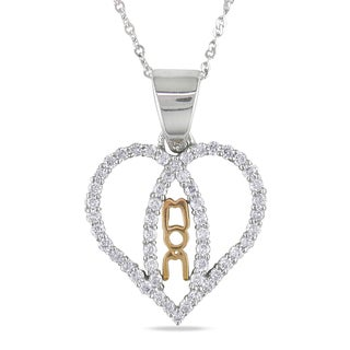 Miadora 14k Two-tone Gold 1/3ct TDW Diamond Mom Heart Necklace (G-H, I1-I2)
