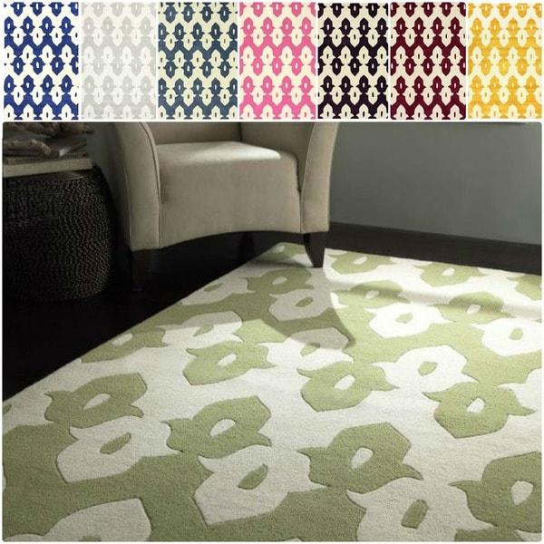 nuLOOM Handmade Modern Ikat Trellis Wool Area Rug (7'6 x 9'6)
