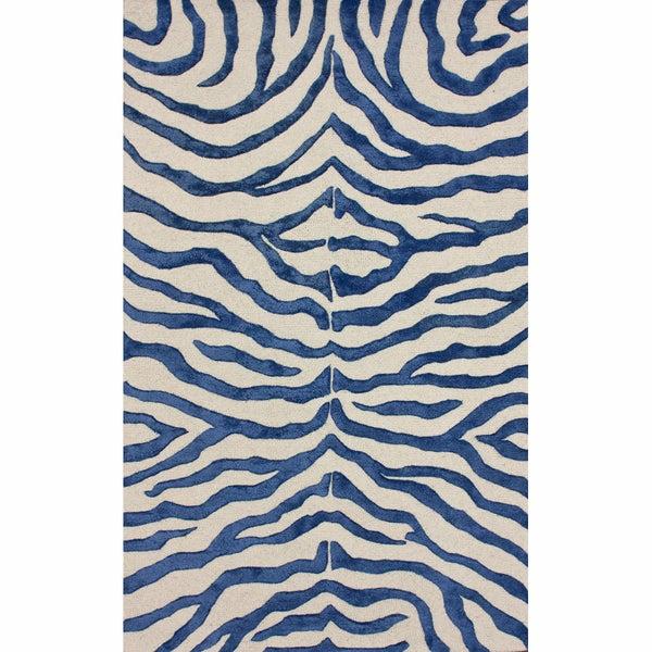 nuLOOM Handmade Zebra Blue Faux Silk / Wool Rug (7'6 x 9'6)