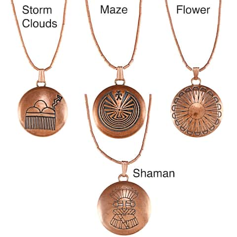 Southwest Moon Copper Maze Concho Liquid Metal Necklace