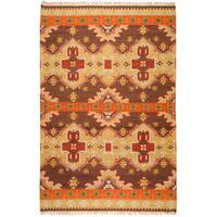 Hand-woven Orange/Brown Southwestern Aztec Keizer Hard Twist Wool Area Rug (2' x 3')