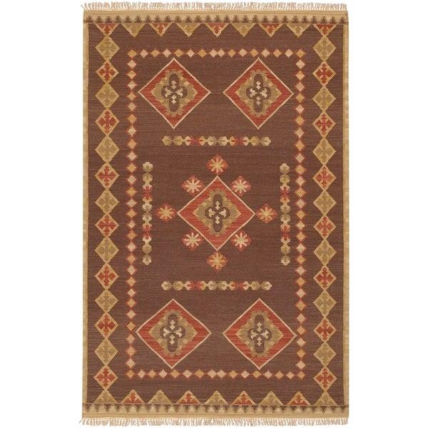 Hand-woven Red/Brown Southwestern Aztec Jewel Tone II Hard Twist Wool Rug (2'x 3')