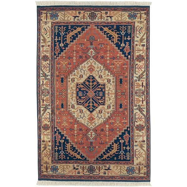 Hand-knotted Adana Blue Wool Rug (2' x 3')