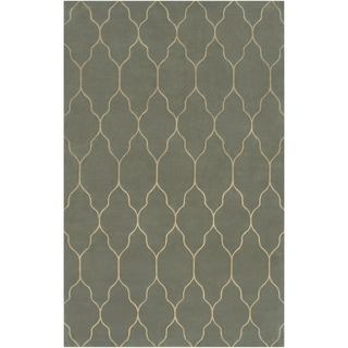 Hand-knotted Levelland Green Wool Area Rug - 2' x 3'