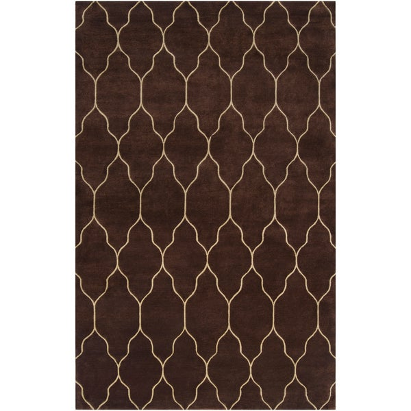 Hand-knotted Lewisville Brown Wool Rug (2' x 3')