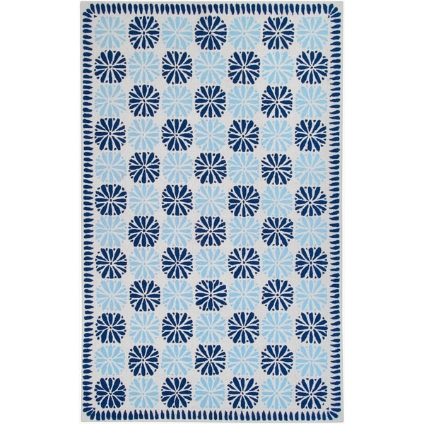 Country Living Hand-hooked Kermitle Blue Medallion Pattern Wool Rug (2' x 2'9)