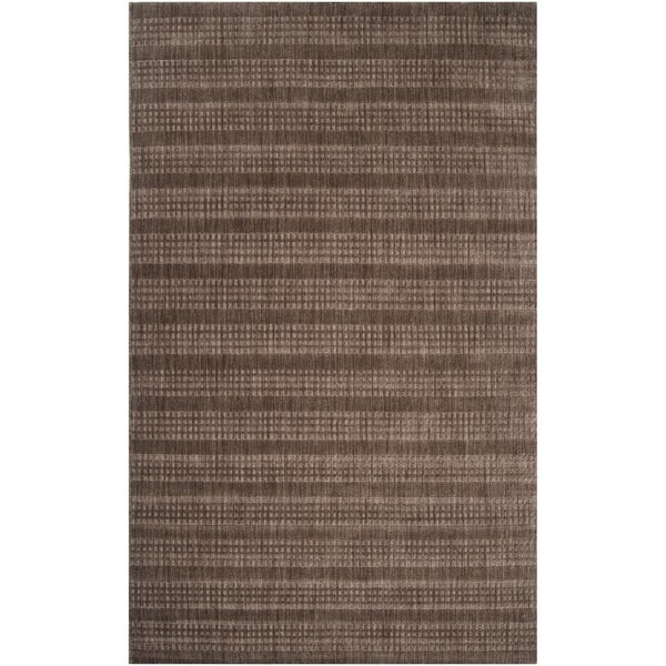 Hand-crafted Dark Brown Solid Casual Indus Valley Wool Rug (2' x3')