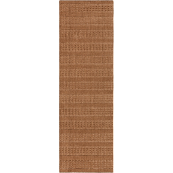 Hand-crafted Light Brown Solid Casual Indus Valley Wool Rug (2'6 x8')