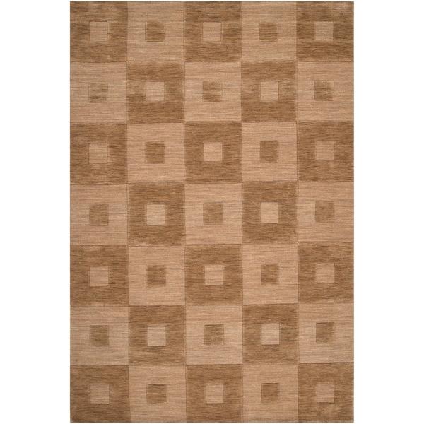 Hand-crafted Solid Light Brown Geometric Kingsland Wool Rug (2' x3')