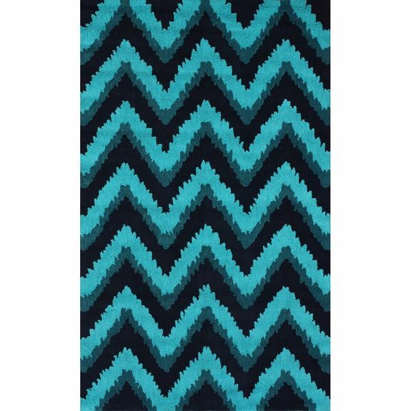 Shop Handmade Chevron Turquoise Rug (5' X 8')