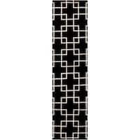 Hand-knotted Kittitas Black Geometric Wool Area Rug - 2'6 x 10'