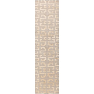Hand-knotted Knippa Beige Wool Rug (2'6 x 10')