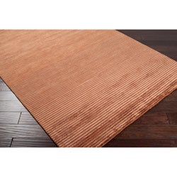 Hand-knotted Solid Brown Kosse Semi-worsted New Zealand Wool Rug (2' x 3')